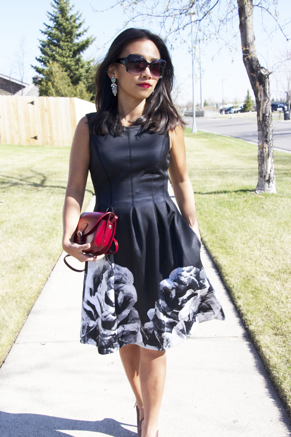 This is a photo of a black floral prints fit and flare dress