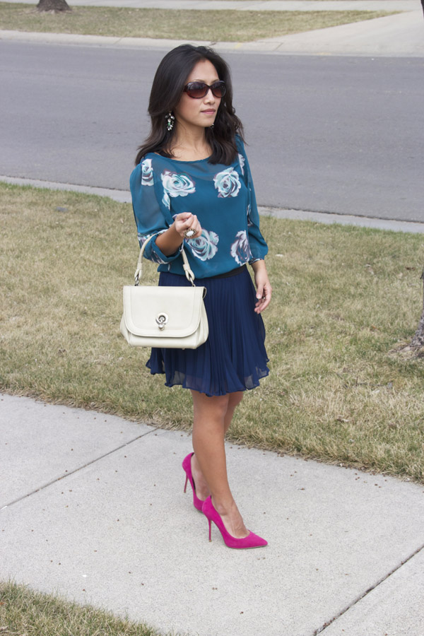 floral-prints-tunic-blue-pleated-skirt