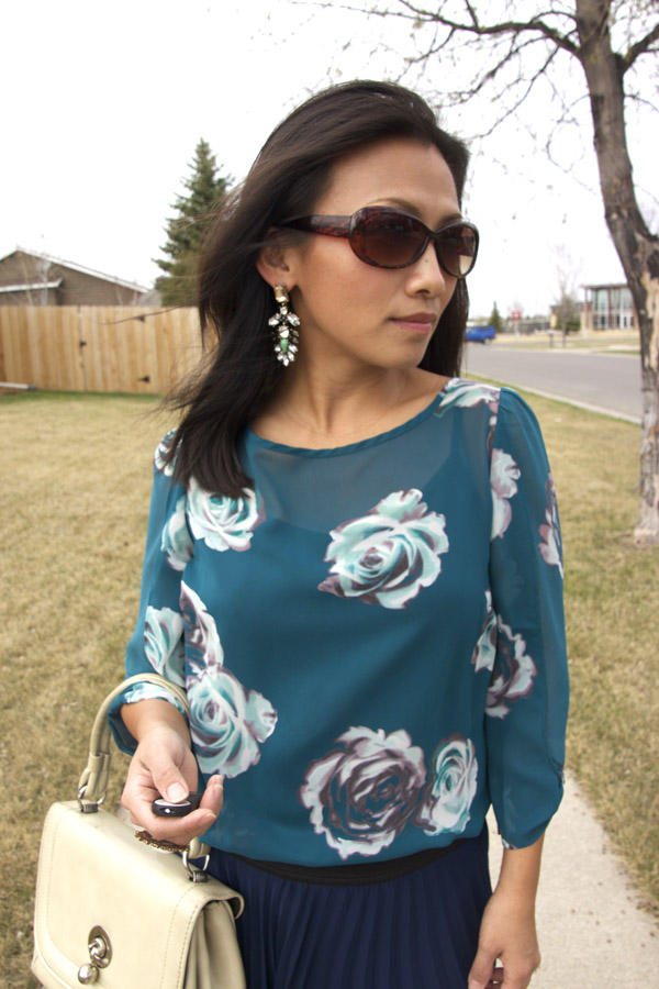 grape leaves drop earrings, over-size sunglasses, teal floral prints tunic
