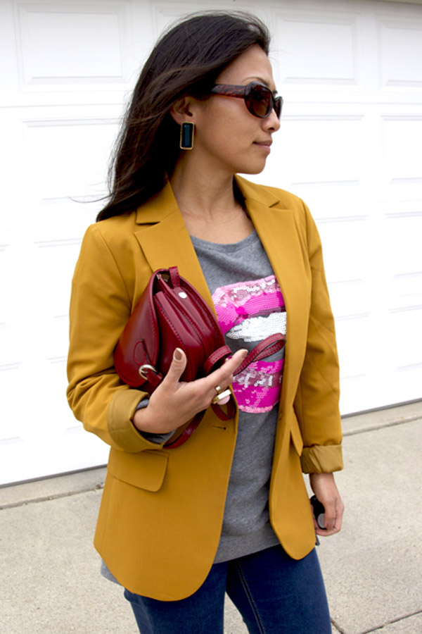 This picture is an outfit showcasing yellow blazer with hot pink lips graphic sweatshirt