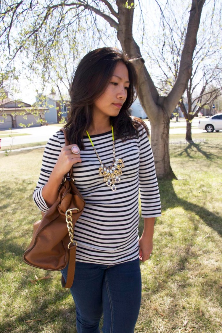 Stripe Tshirt with Strand necklace