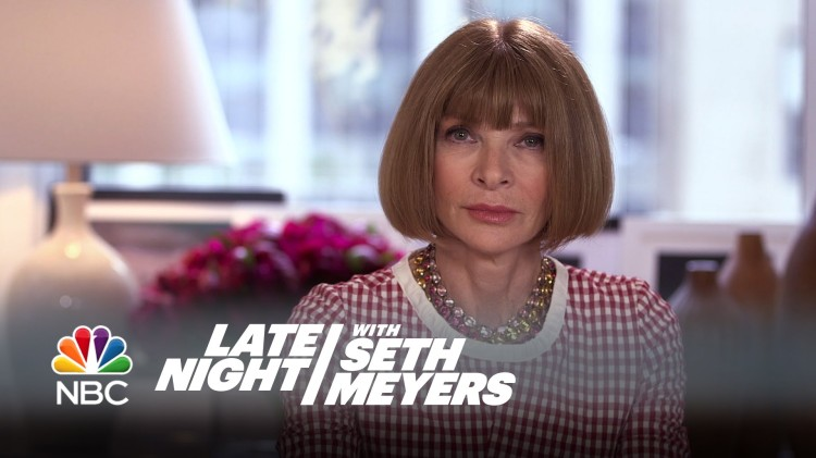 This is a picture of Anna Wintour on Late Night show.