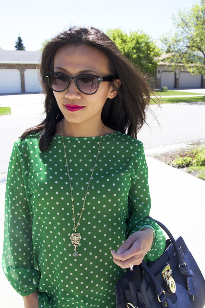 green-polka-dots-top-close-look