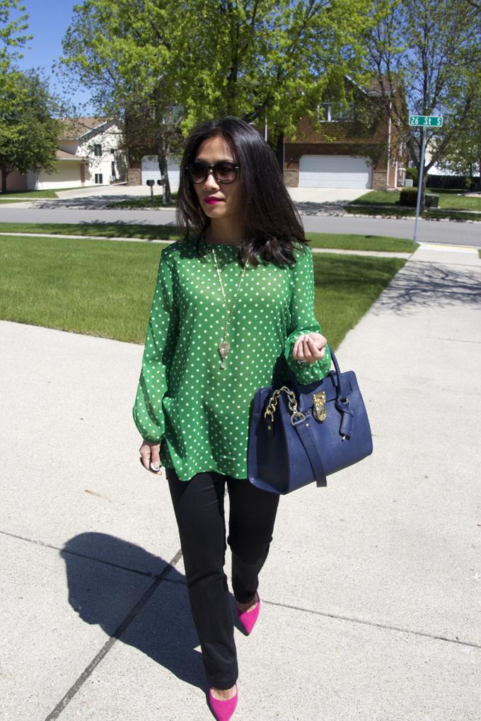green-polka-dots-top-look