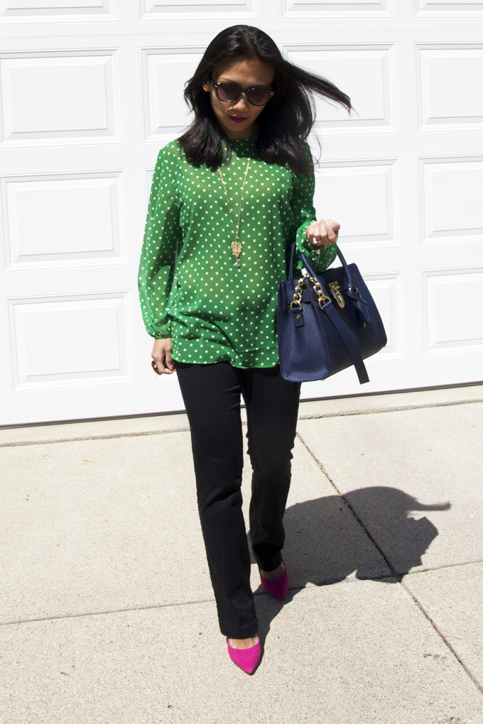 This picture is a spring look featuring a green polka dots top.