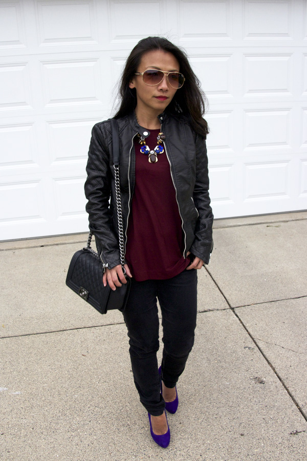 This picture is a spring look of motorcycle jacket with burgundy top.