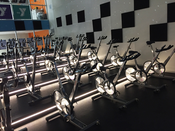This is a picture of YMCA indoor cycling classroom.