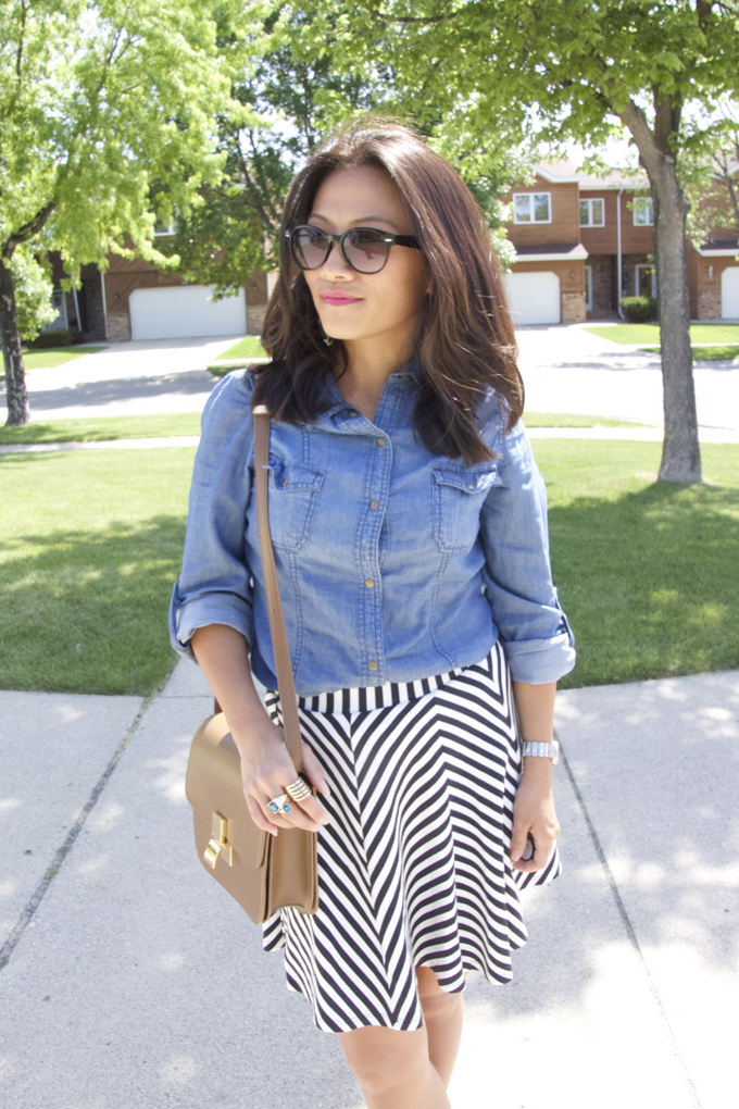 This is a picture of a denim shirt and a striped skirt.