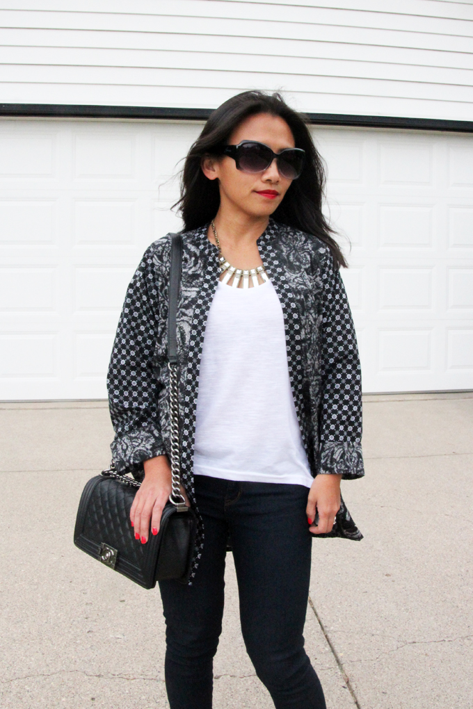 This is a picture of black and white kimono jacket look