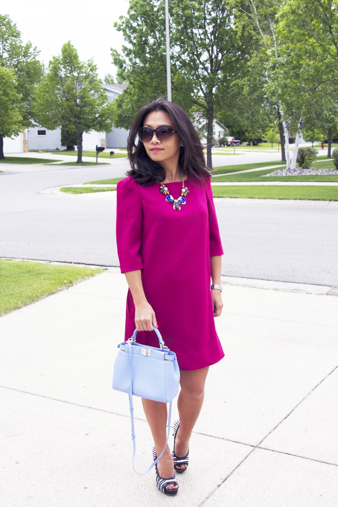magenta-straight-dress-look