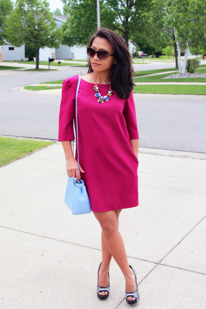 This is picture of magenta straight dress
