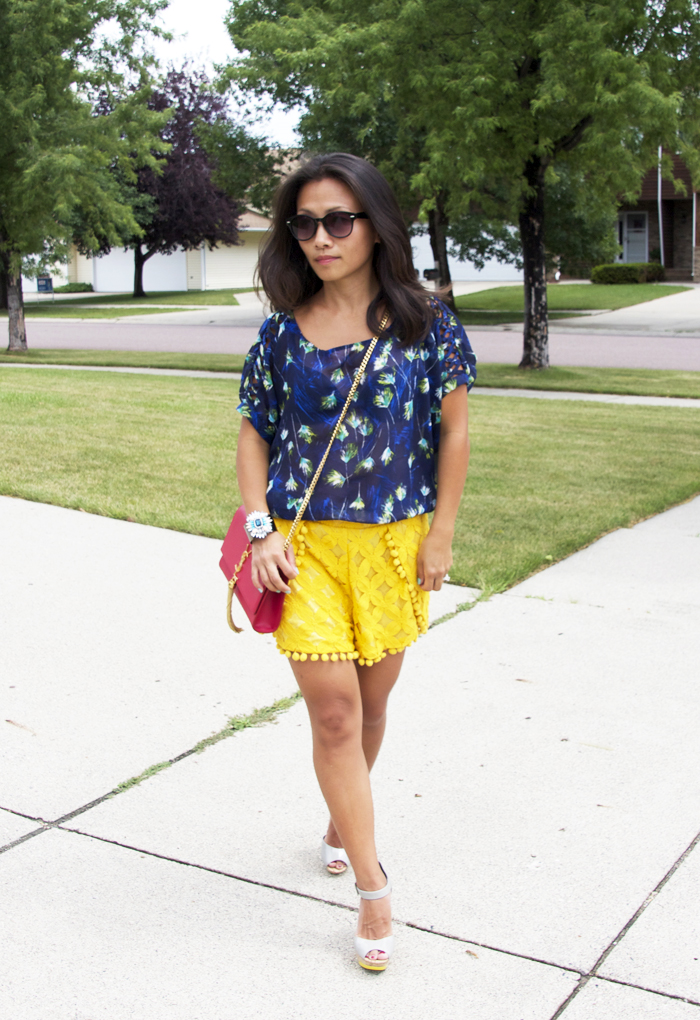 blue-top-yellow-lace-shorts-look2