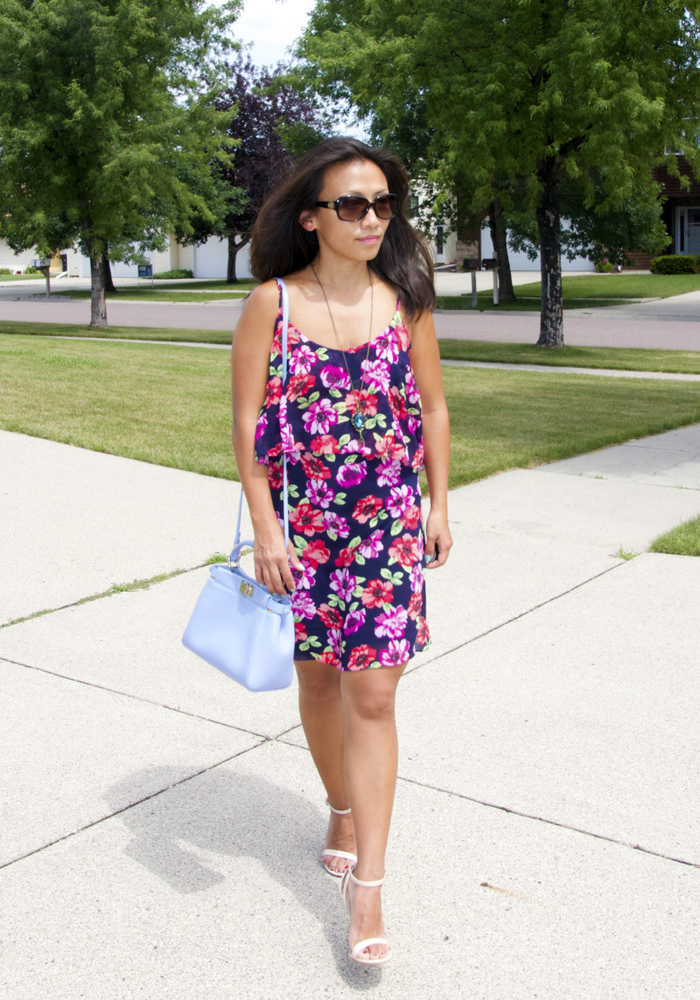 This is a picture of a double layered floral prints sundress.