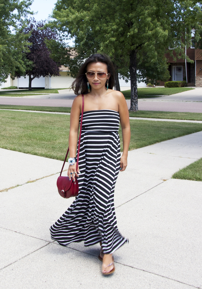 This is a picture of a striped black and white maxi dress.