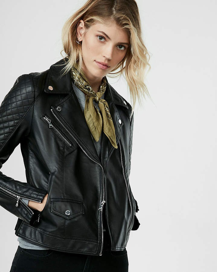 EXPRESS Quilted Leather Moto Jacket